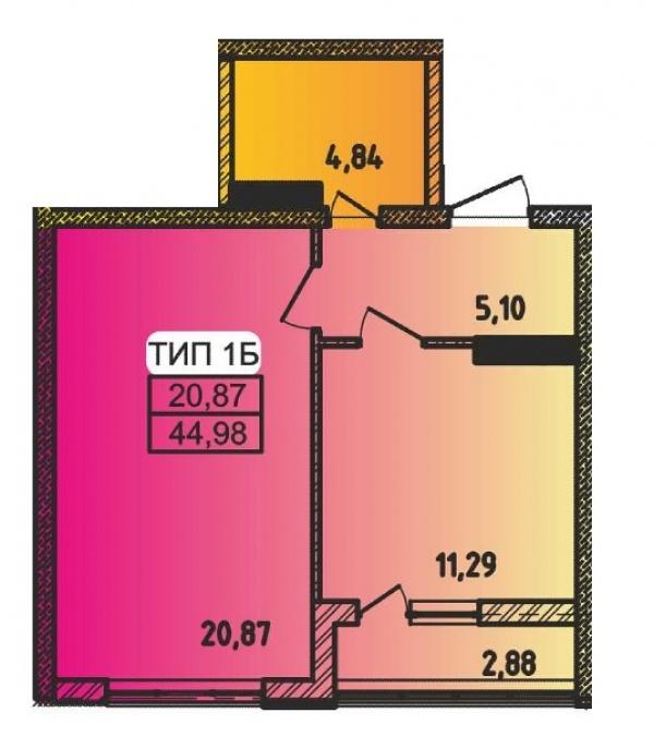 Планировки однокомнатных квартир 44.98 м^2